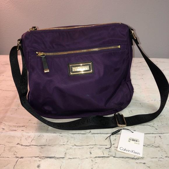 9aaa1f2b89d Calvin Klein Bags | Purple Nylon Large Crossbody Handbag | Poshmark